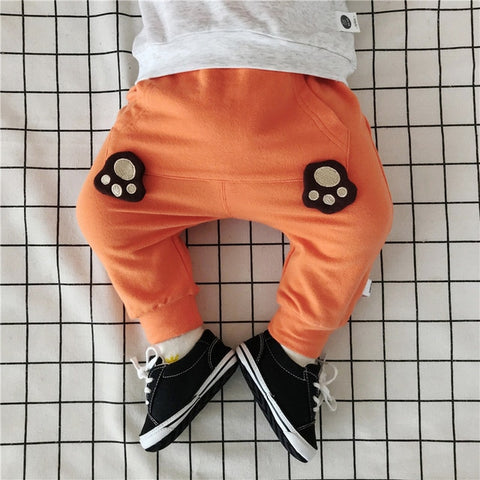 ed291d519fd1 Cartoon Big Pocket Trousers for Boys Girls Baby Solid Loose Elastic Waist  Infant Baby Girl Winter