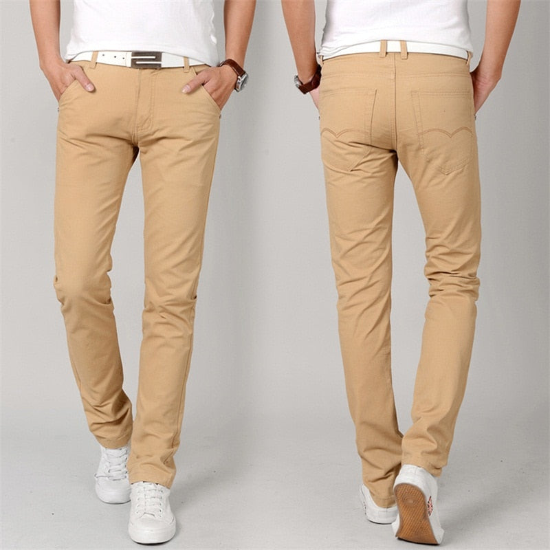 d3e6ffcc3ed Fashion New High Quality Cotton Men Pants Straight Spring army green Long  Male Casual Trousers Slim ...