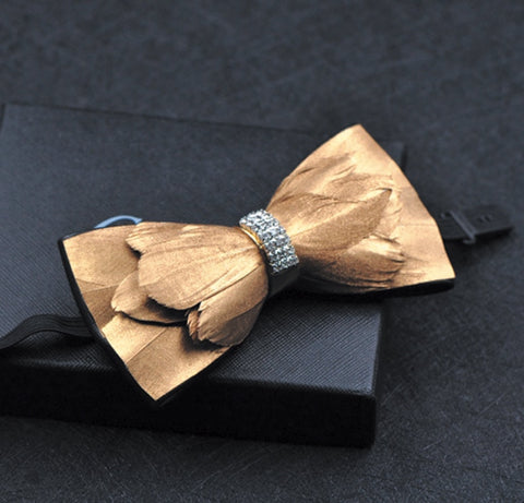 Free shipping New men's male man handmade Pure natural feather stitching leather bow men's bow tie male groom wedding