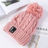 New fashion women thick winter hats number label velvet beanies crimping pompoms knit hats casual warm skullies