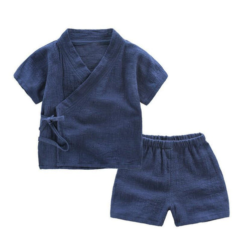 Cotton Linen Summer Children Clothing Sets Toddler Kids Boys Clothes Sets Breathable Tops + Shorts For Boys 90-130cm