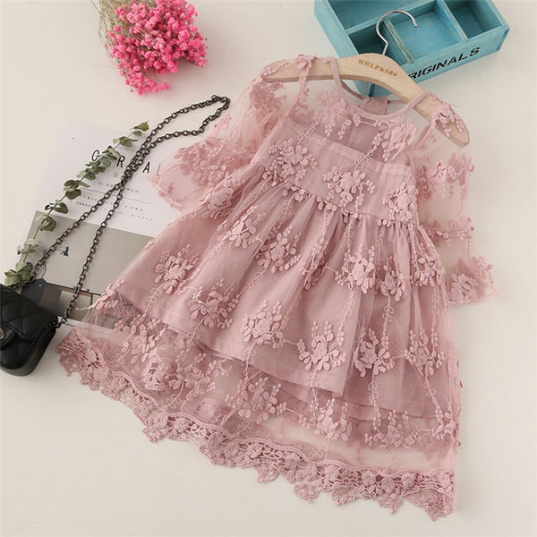 Kids Christmas Cosplay Costume Spring summer autumn baby girl dress fashion princess Lace embroidery girl cotton dress