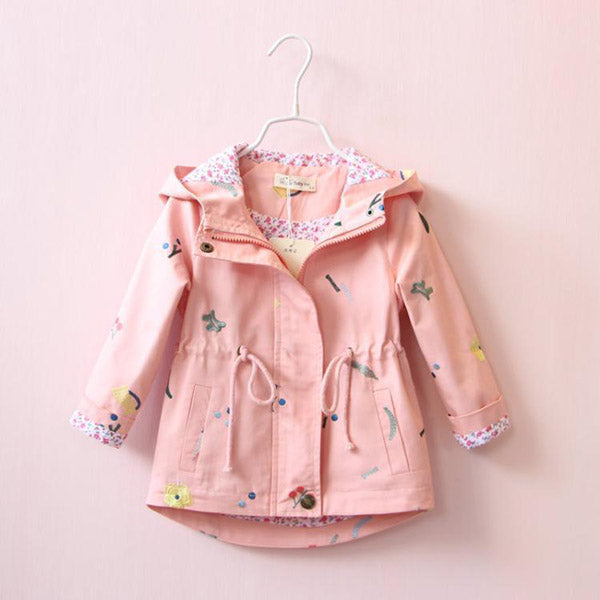 New Spring Autumn Girls Windbreaker Coat Baby Kids Flower Embroidery Hooded Outwear Baby Kids Coats Jacket Clothing