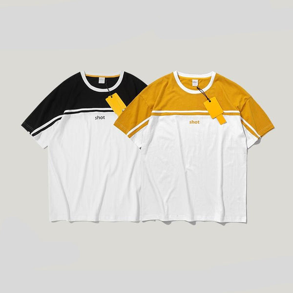 Colour Block Stripe T-shirt Men's O-neck T Shirt Cotton Streetwear Hip hop Couple Tee Basic Dress T-shirt