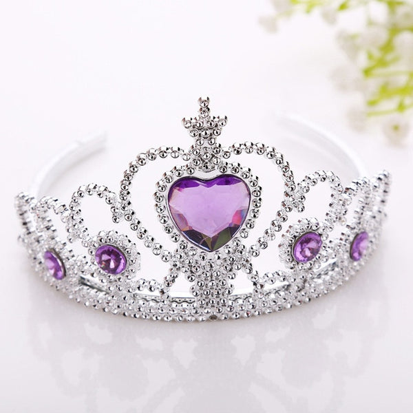 Princess Crown Headwear Hair Ornament Baby Girls Fashion Silver Plastic Hair Accessories Children Kids Photo Prop