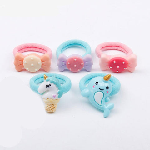 5Pcs/Lot Kawaii Hair Accessories Kids Nylon Hair Bands Unicorn/Candy/Shamrock Elastic Hair Rope For Girls Baby Headwear