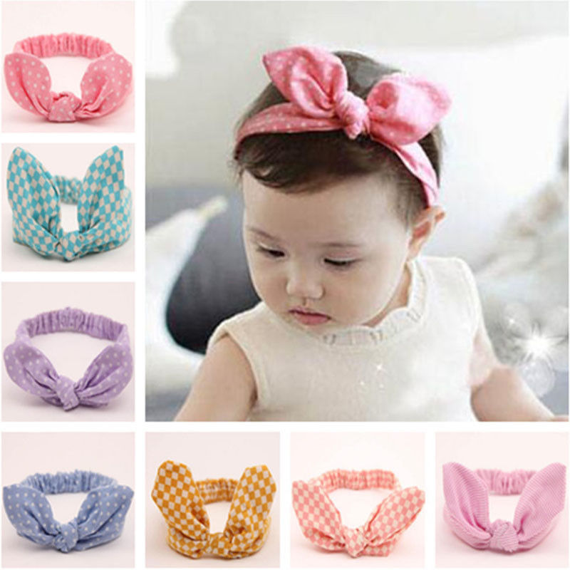Hot Baby Girl Headwear Cute 0-6T Toddler Kids Bow Polka Dot Stripe Bunny  Headband ... c3c3e535f4f
