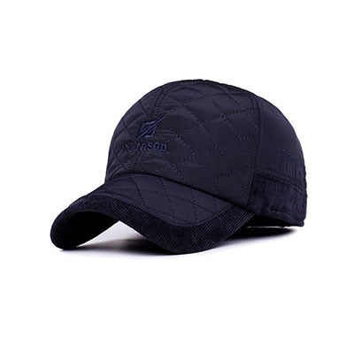 Men Winter Baseball Caps fashion Knitted Plaid cotton thicken winter cap hats Ear Flaps Adjustable Casquette