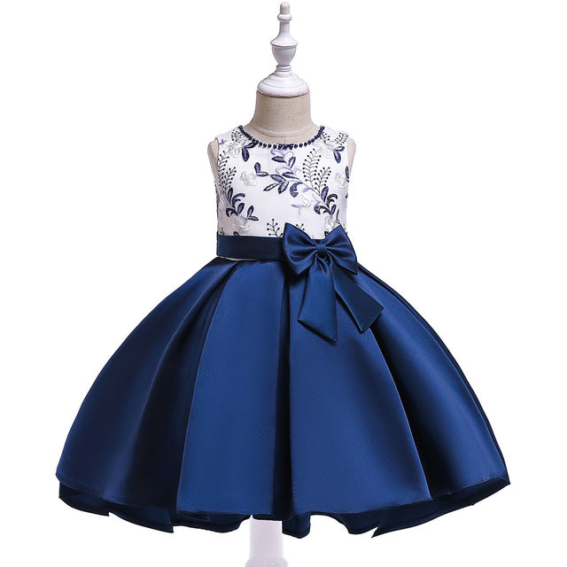 Retail New Design Girl Summer Dress With Bow Kids Girl Party Dress