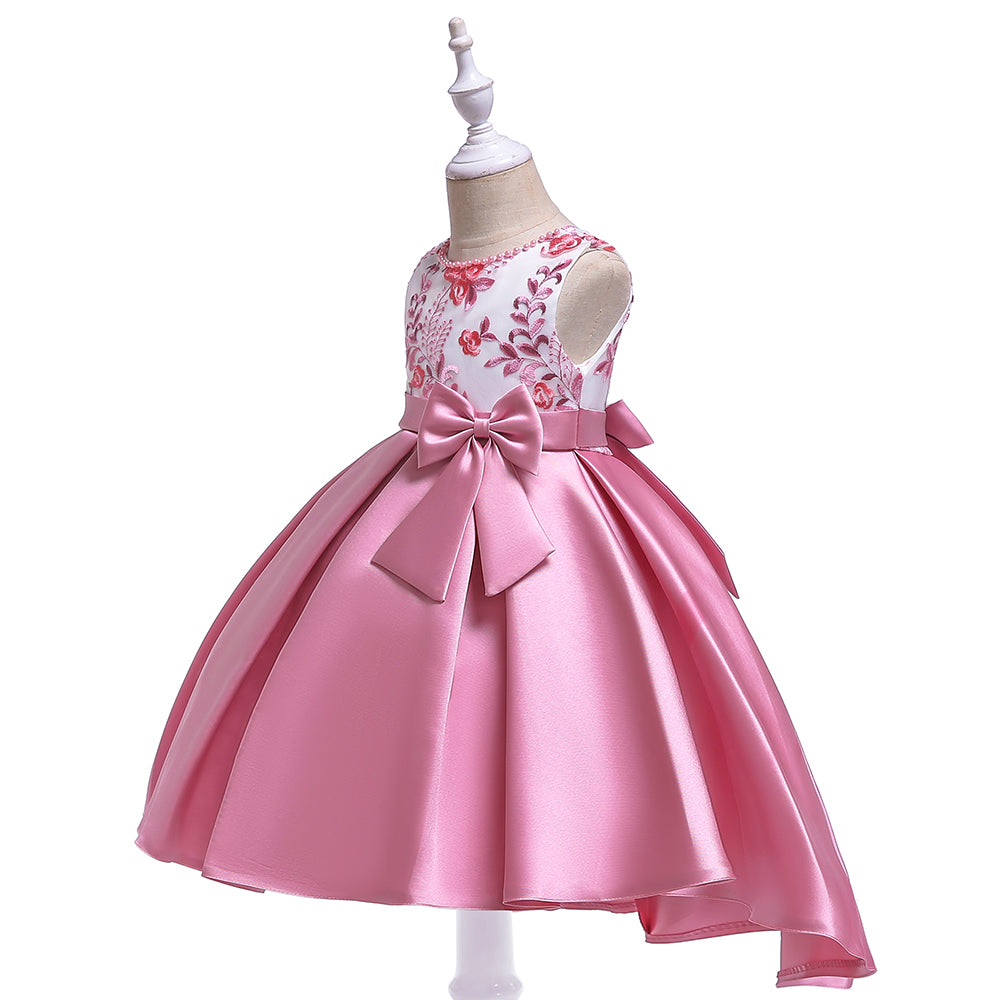 fbc701256c6 ... Retail New Design Girl Summer Dress With Bow Kids Girl Party Dress For  Birthday Bridesmaid Embroidered ...