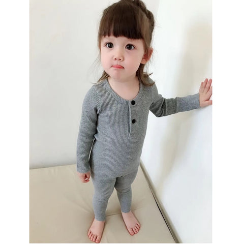 New Fashion Children Clothes Girls Boys Kids Pajama Sets For Baby Ribbed With Pants Soft Long Sleeve Spring Autumn Winter Boy