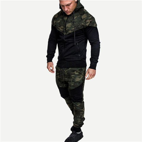 Men Contrast Camo Hooded Jacket With Drawstring Pants Stylish Spring Autumn Set Camouflage Long Sleeve Two Piece