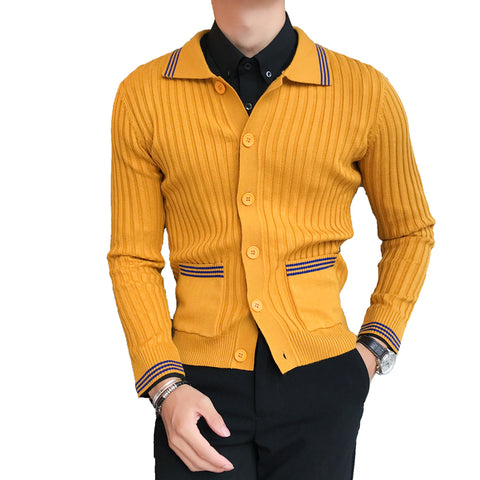 Autumn and Winter New Boutique Fashion Striped Men's Lapel Cardigan Knitted Sweater /  Contrast Men's Slim Casual Sweater Jacket
