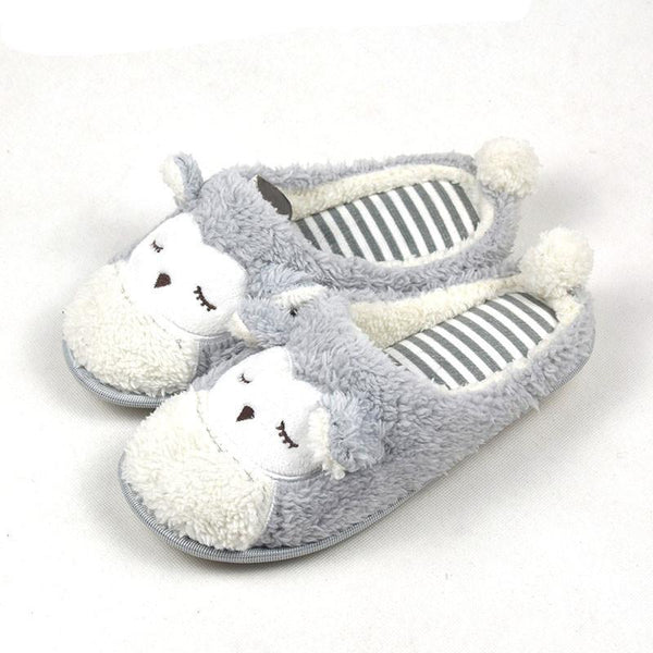 New Spring Autumn Winter Home Cartoon Owl Cotton Plush Slippers Women Indoor\ Floor Warm Slippers Flat Shoes Girls Gift