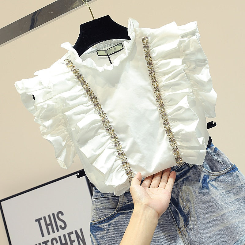 Short Sleeves White Shirts Woman Sweet Lotus Leaf Beads Diamond Lined Chiffon Blouse Summer Blusas