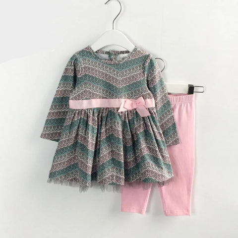 Peacock Pattern Baby Girls Clothes Set Long Sleeve Cotton Casual Children Kids Girls Tops Outfits Suit
