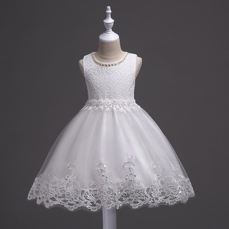 e4c3cc4e3d7 New lace party Christmas Wedding dress Children s beaded baby girl dre