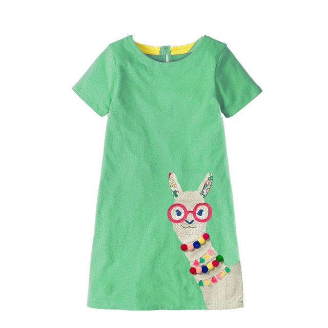 322f7aafd ... Jumping meters Party Dresses girls baby clothing summer cotton dress  rainbow applique fashion children garment hot ...