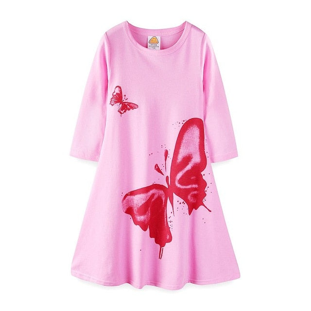 Little Girls Casual Dress Kids Butterfly Printed Three Quarter Summer Beach Dresses Cotton Swing Flare Birthday Clothes