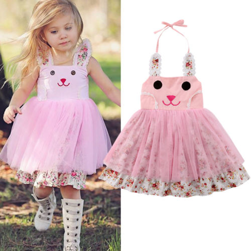 be44a2f3454 Dress Toddler Kid Baby Girls Cute Bunny Floral Tulle Tutu Princess Dress  Sundress Ball Gown Clothes ...