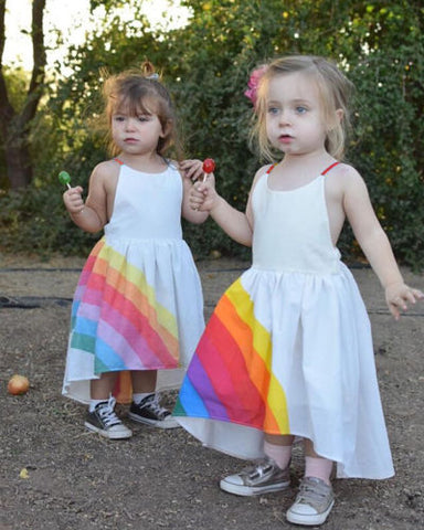 Princess Kids Baby Girls Flower Party Tutu Dress Summer Beach Style Rainbow Printed Party Backless Dresses