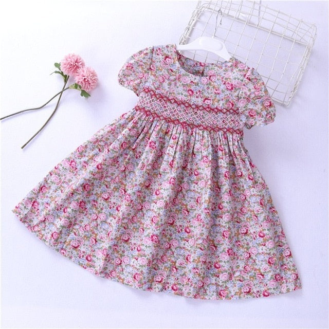 dd0112d6b839c summer girl smocked dress frock baby girl clothes embroidery flower Party  kids dresses For Girl's clothing princess holiday