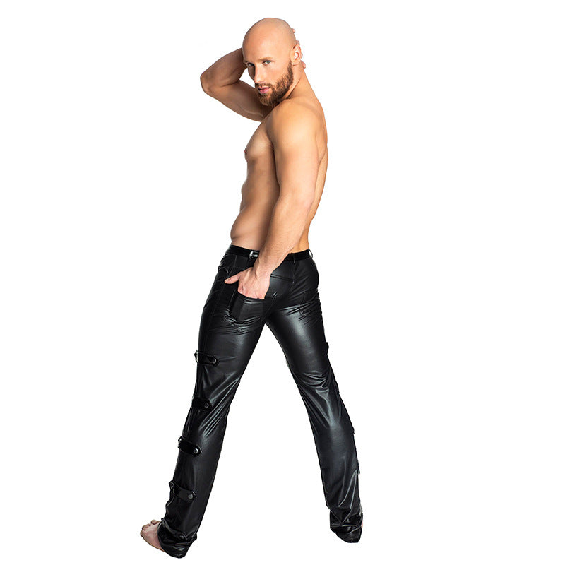 Men Black PVC Faux Patent Leather Pants Club Wear Stage Skinny Pants Stretch Leggings Sexy Latex Long Trousers Dance Costume