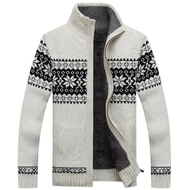 Winter Mens Cardigan New Men's Casual Sweaters Warm Plus velvet Zipper Men Cardigan Stand Collar Knitted Sweaters