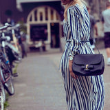 Women Sexy Winter Dress Striped Sashes Streetwear Long Beach Dress Cotton Dress With Pocket