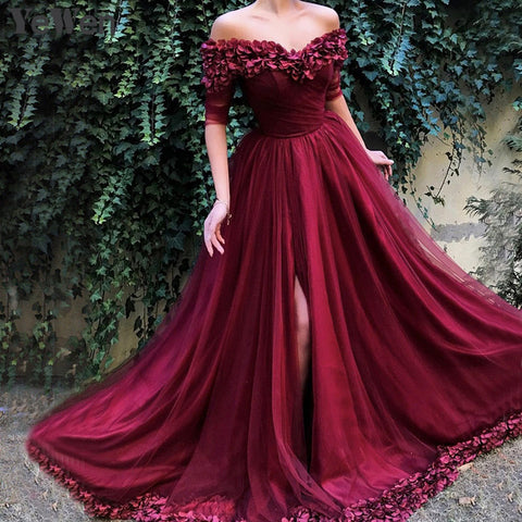 Sexy Off Shoulder Red Evening Dresses Half Sleeves Simple Sexy Beach Evening Gowns Off shoulder Prom Dress Long 6002