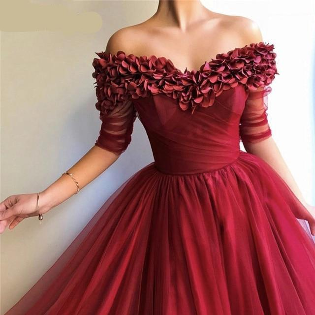 Red Evening Dresses Half Sleeves