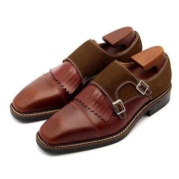 Handmade Men Luxury Genuine Leather Dress Shoes Spliced Tassels British Business Man Formal Footwear Buckle Slip On Office Shoes