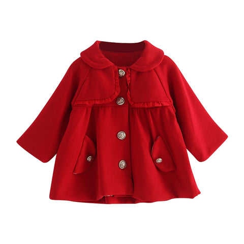 Baby Jacket Winter Girls Turn-Down Collar Long Sleeve Single Breasted Baby Christmas Coat and Jacket Pink/Red Color For 6-24M