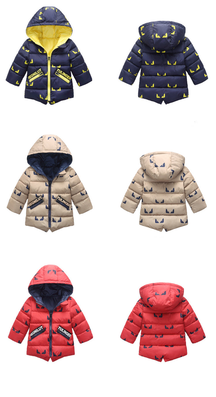 New Children's Winter Warm Jackets For Girls Boys Cotton Coats Overalls Hooded Clothing Baby Kids Cute Outerwear YJ012