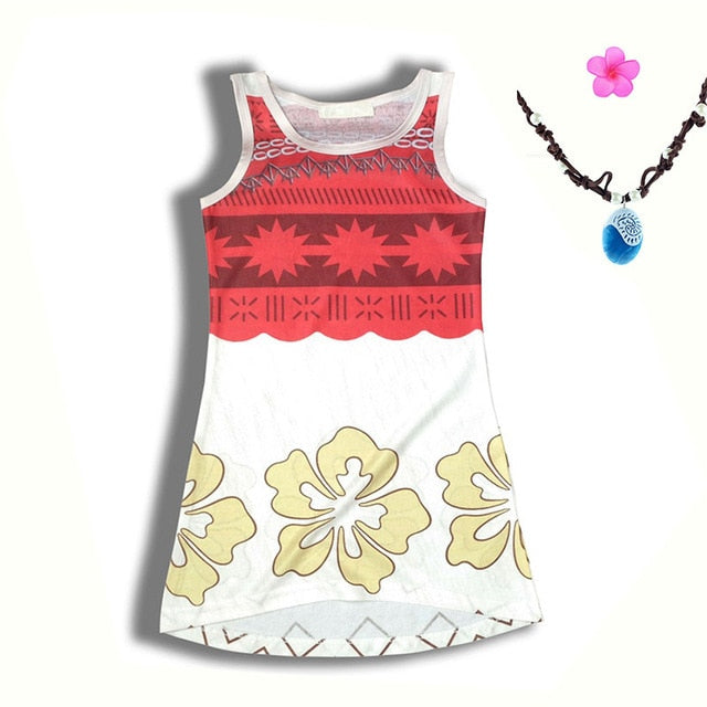 c7fb55a79 Moana Girls Beach Dresses Vest Clothes Summer Fashion Kids Gown ...
