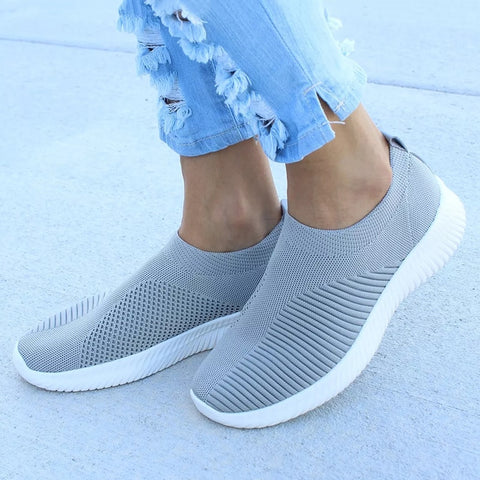 1017618ba2 Plus Size Shoes Women Casual Knitting Sock Sneakers Stretch Flat Ladies  Slip On Shoes Female Leisure
