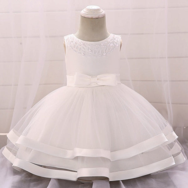 92fc4b0440aa9 Summer Wedding Dress 1 Years Birthday Party Dresses Newborn Toddler Baby  Girl Pearl Baptism Dresses Baby Princess Dress