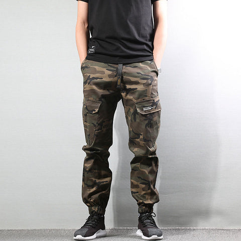 High Street Fashion Mens Jeans Army Jogger Pants Camouflage Military Elastic Waist Drawstring Zipper Ankle Banded Jeans Men 322