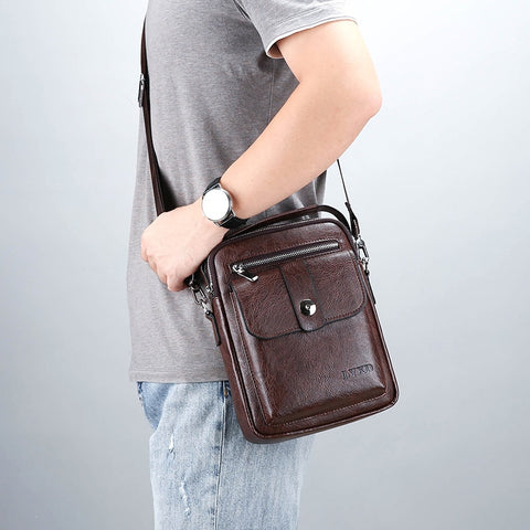 Retro Style Men s PU Business Travel Messenger Bag A Variety Of Styles  Solid Color Simple And e54b820e02