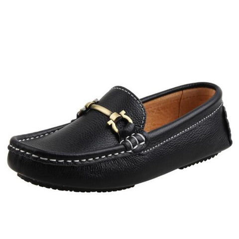 New Spring/Autumn Children Shoes Genuine Leather Breathable Baby Toddler Loafers Kids Flats Student Black Dress Shoes 019