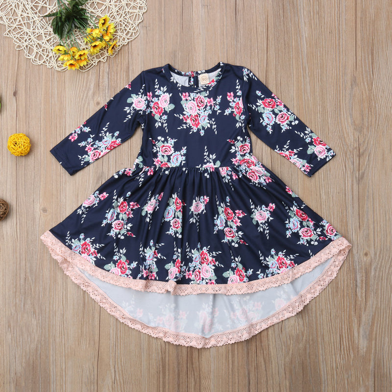 USA Flower Kids Girl Dress Princess Baby Lace Floral Party Pageant Dresses 1-6Y