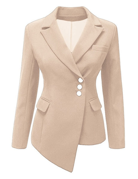 Women Blazers Long Sleeve Notched Neck Slim Asymmetry Suit Office Lady Casual Work Suit Outwear Suits Female