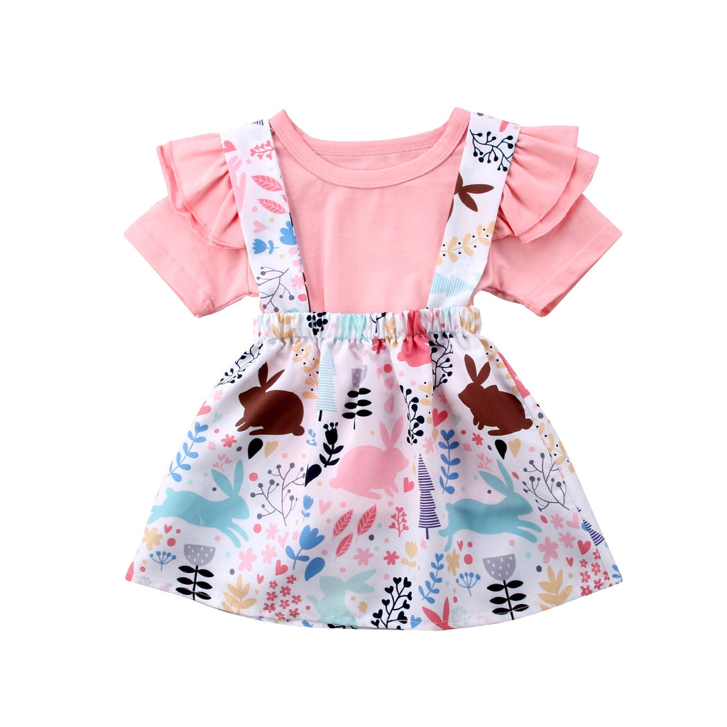 f9d37a3072a7 Toddler Baby Girl Short Sleeve Rabbit Tops+Animal Print Strap Bunny Tu |  JOHNKART.COM. }