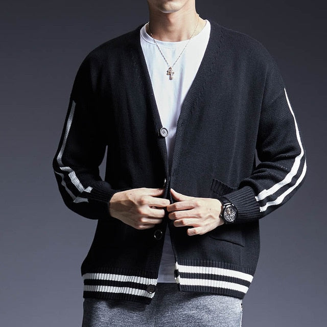 New Fashion Brand Sweater Men's Cardigan Solid Color Slim Fit Jumpers Knitwear Warm Winter Korean Style Casual Mens Clothes