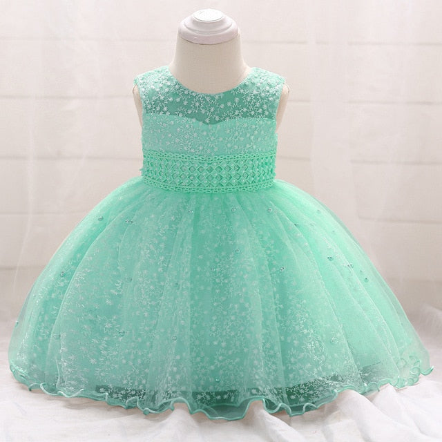 New infant baby girls dress summer Lace Sequins Baptism Dresses for Girls 1st year birthday party wedding baby clothes