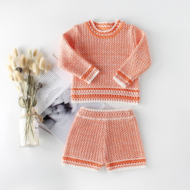 New Baby Girls Boys Set Knit 2 Pieces Pullover+ Shorts Knitted Wool Clothes Suit Hollow Out Newborn Toddler Long Sleeve Clothes
