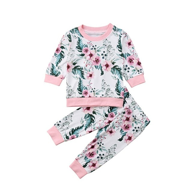f7850ceef380b Kid Girl Clothes Set Children Clothing Sets Kids Clothes Baby Girls Print  Tops + Pants 2PCS Tracksuit