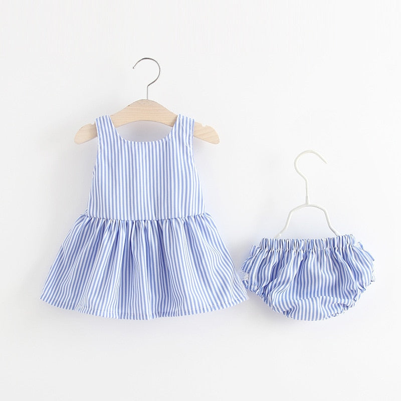 Newborn Baby Girls Clothes Sleeveless Dress+Briefs 2PCS Outfits Set Lace Striped Printed Cute Clothing Sets Summer Sunsuit 0-24M
