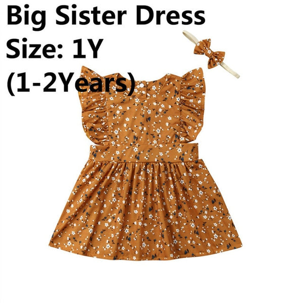 02e923e7b83a3 Cute Kids Baby Girl Little/Big Sister Floral Summer Outfits Flowers Ruffle  Fly Sleeve Romper Party Dress Bow Headband 2Pcs 0-6Y