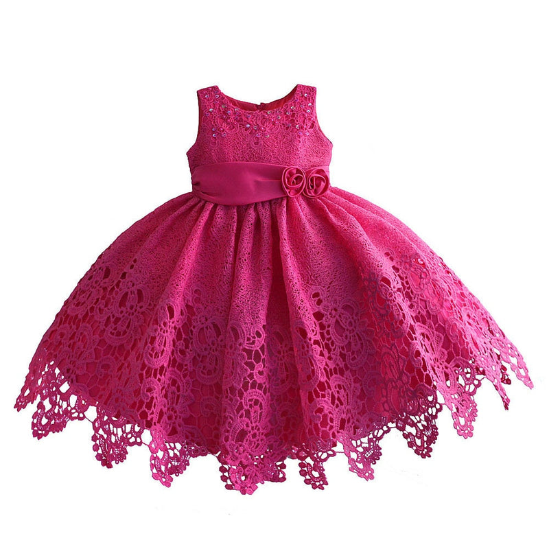 Lace Girls Dress for Wedding Party Sequin Flower Kids Formal Ball Gown Evening Dresses Christmas Girl Frocks 1-7T
